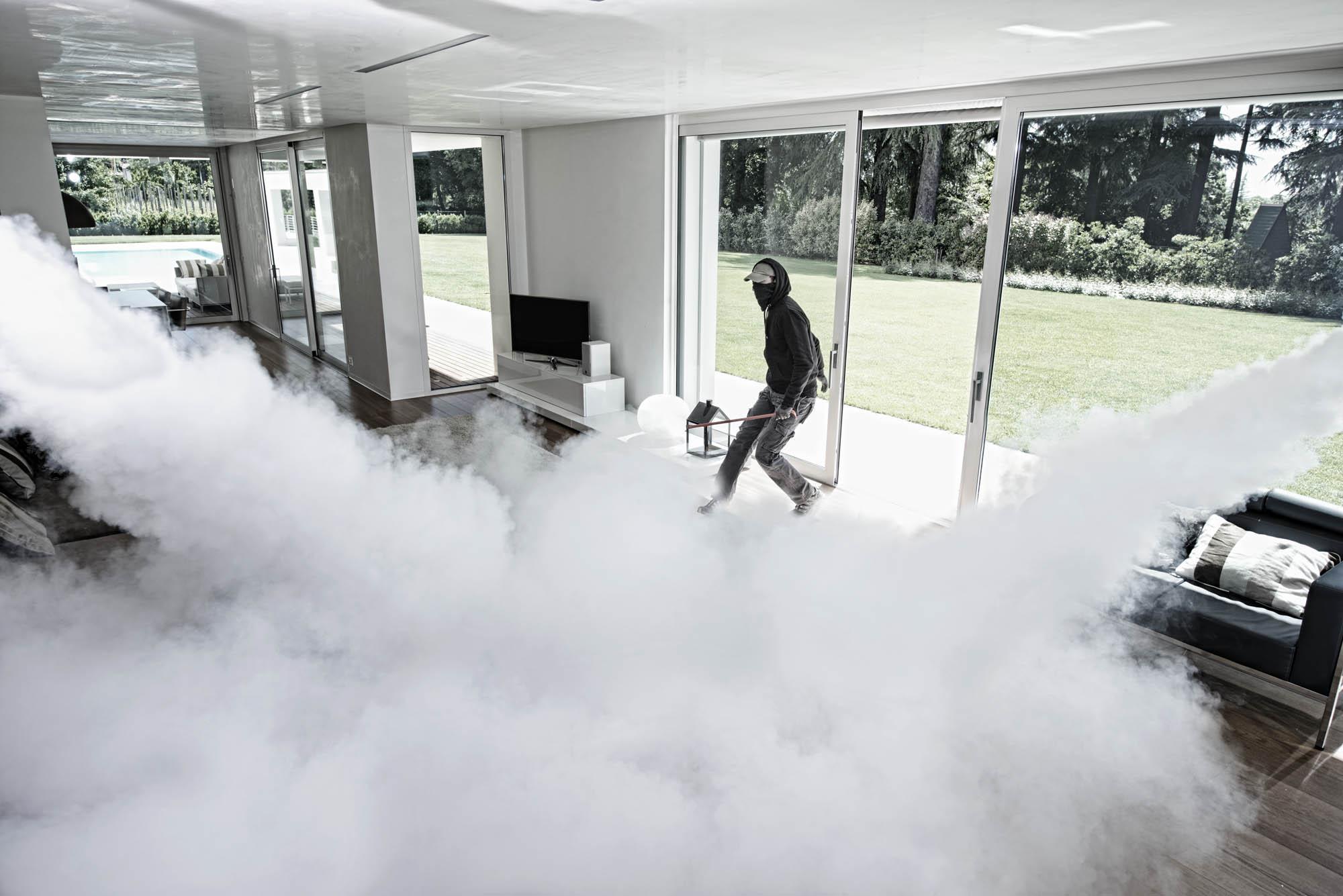 σύστημα αντικλεπτικής ομίχλης, καπνός για κλέφτες, μηχανή παραγωγής ομίχλης καπνού